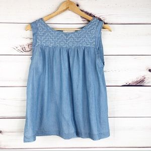 T208 Loft chambray blouse with embroidery.